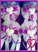 """Свадебное украшение на ручки машины """"Букет"""" двойной фатин Фиолетовый"""