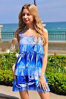 """Летнее ярусное мини-платье на бретельках """"Бриз"""" с гипюром (5 цветов)"""