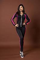 Женский молодежный спортивный костюм. Код модели КС-13. Цвет черный с розовым.