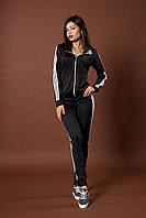Женский молодежный спортивный костюм. Код модели КС-13. Цвет черный с белым.