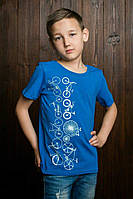 Яркая детская футболка для мальчика декорированая велосипедами
