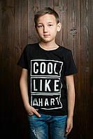 Трикотажная детская футболка черного цвета для мальчика