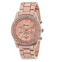 Наручные часы Geneva с грубым браслетом розовое золото