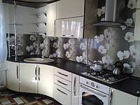 Скинали для кухни с изображением цветов белой орхидеи