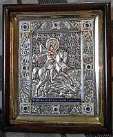 Иконы серебряные с позолотой. Икона Святого Георгия Победоносца со сканью