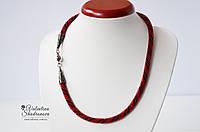 Вязаный жгут красный, фото 1