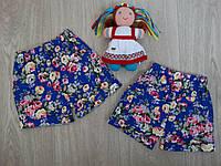"""Шорты коттоновые """"Цветы"""" для девочки на резинке синие р.98-110"""