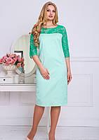 Бирюзовое платье с гипюром большого размера