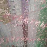 Тюль розовая ромашка 5,7 м