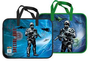 Тека-портфель А4 пластикова з текстильними ручками KIDIS SOLDIER