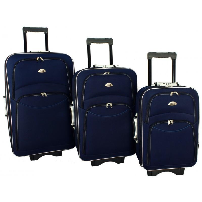 Набір валіз на колесах 773 набір 3 штуки синій / Комплект валіз