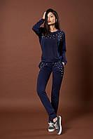 Женский трикотажный костюм с жемчугом. Код модели КТ-06-43-17. Цвет синий.