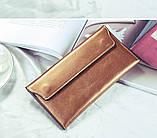 Гаманець жіночий шкіряний з клапаном на магнітах (золотий), фото 2
