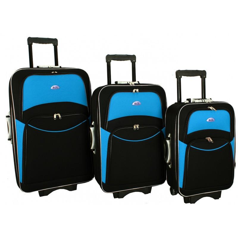Чемодан сумка 773 набор 3 штуки черно-голубой