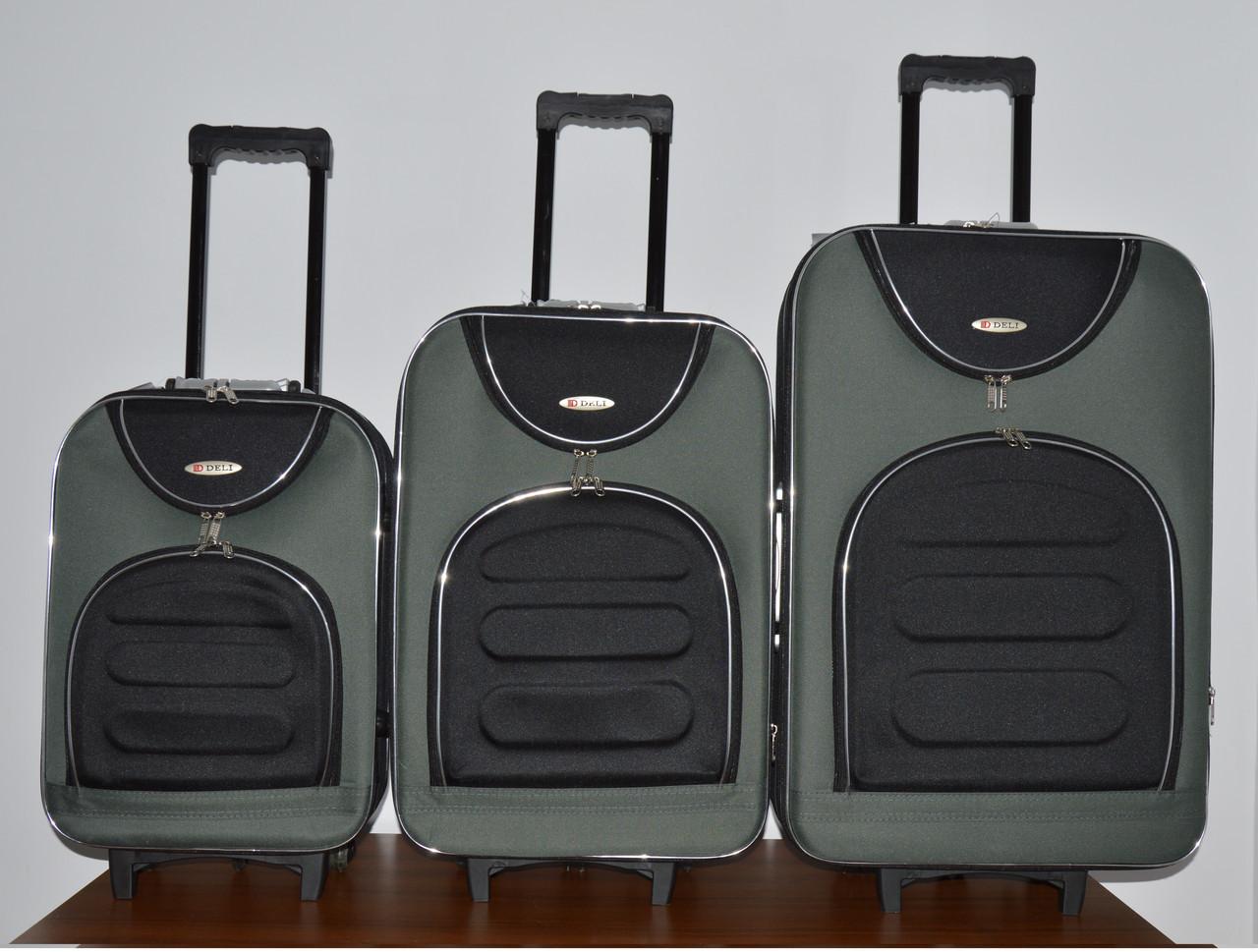 Чемодан сумка Deli 801 набор 3 штуки черно серый