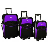 Набор Чемоданов на колесах 773 набор 3 штуки черно-фиолетовый