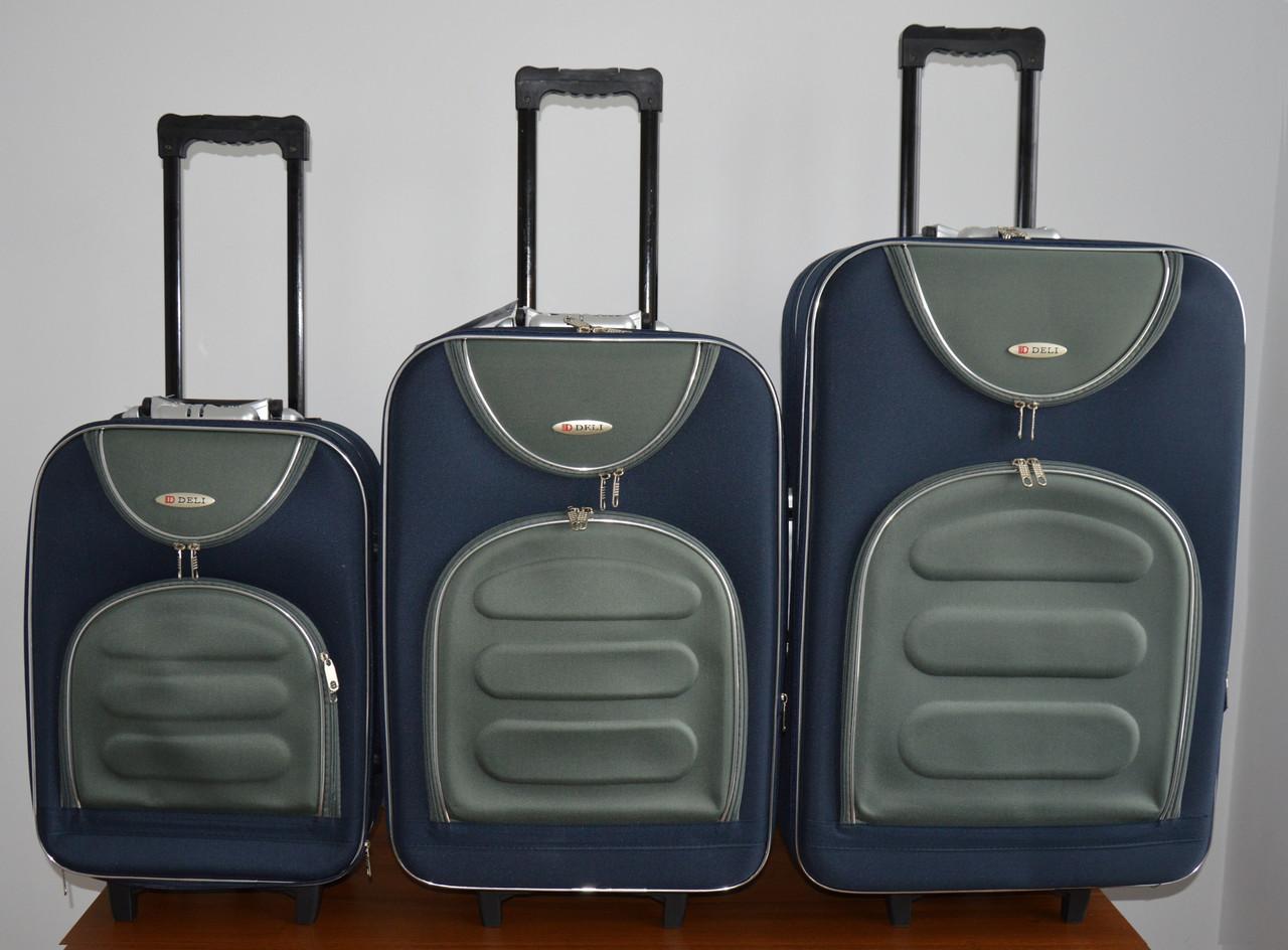 Чемодан сумка Deli 801 (средний) сине серый