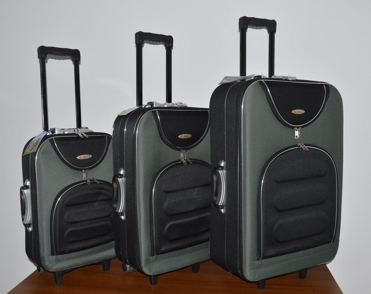 Чемодан сумка Deli 801 (небольшой) черно серый