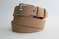 Кожаный ремень 35 мм песочный пряжка классическая хромированная