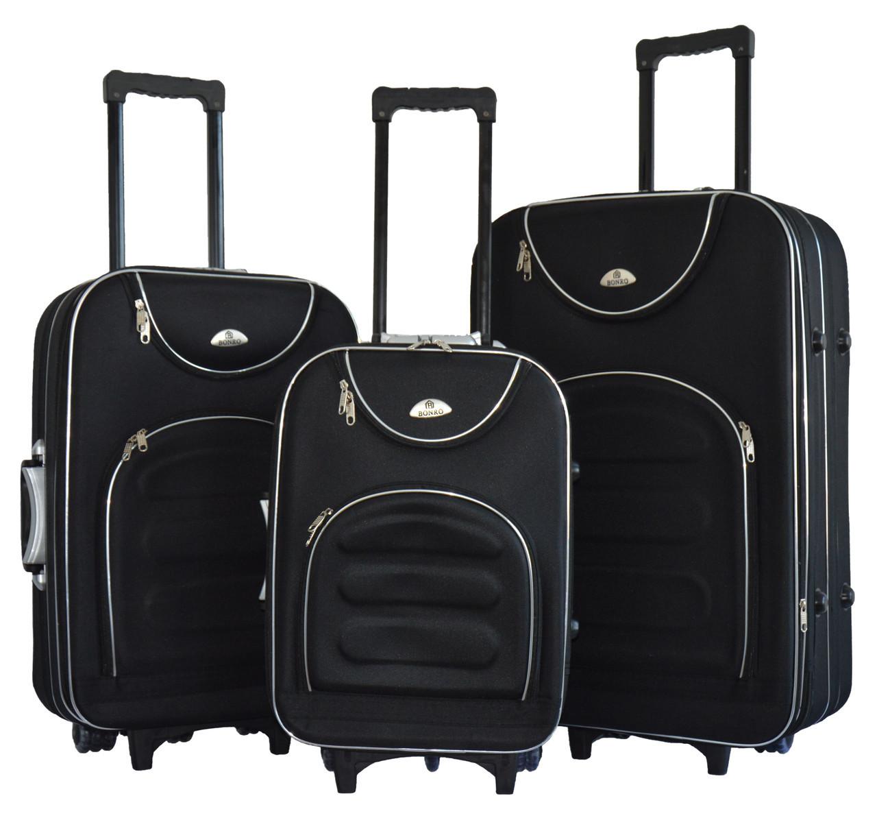 Чемодан Bonro Lux набор 3 штуки черный