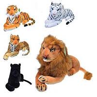 Мягкие игрушки тигры, лев, пантера, леопард