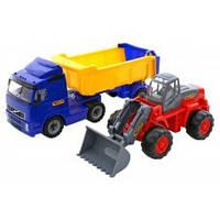 Volvo, автомобиль-самосвал с полуприцепом + трактор-погрузчик (36872)