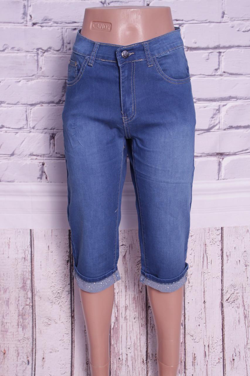 Жіночі джинсові капрі великого розміру Miss Joana з оздобленням стразами (код )