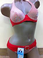 Купальник морской тематики в красную полоску 38С 40 евро