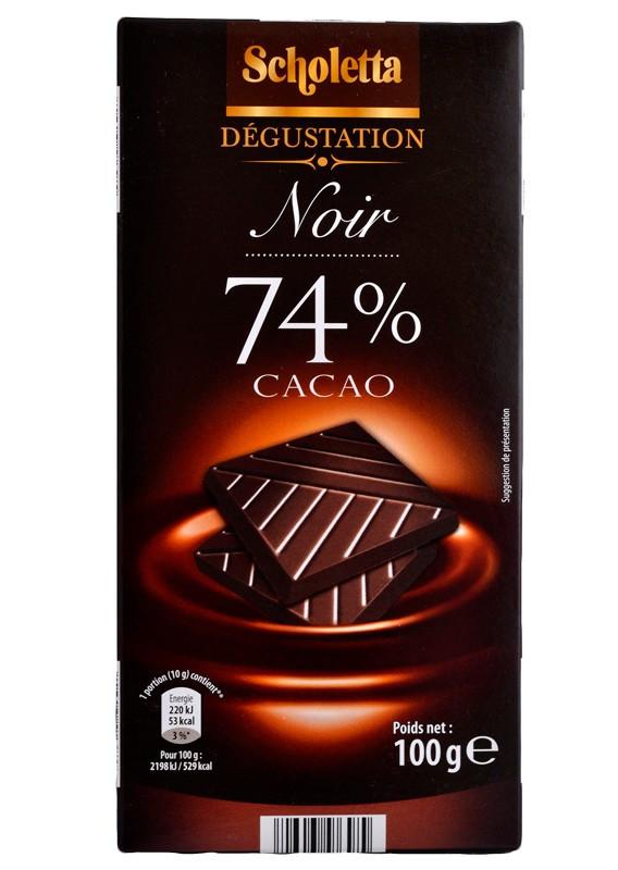 Черный шоколад Scholetta 74% какао 100 гр.