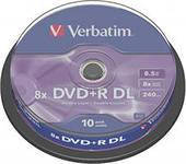 Диски Verbatim Двухслойный DVD+R 8,5Gb CB 10pcs 8x