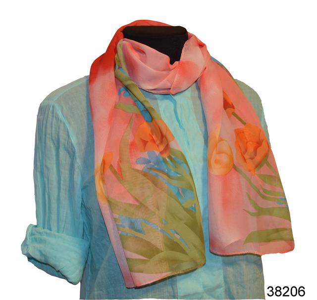 Модный весенний шифоновый шарф Тюльпан 1