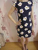Летнее платья из Льна цветочный принт