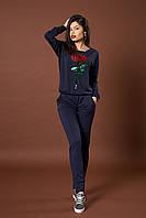 Женский трикотажный костюм. Код модели КТ-07-43-17. Цвет синий.