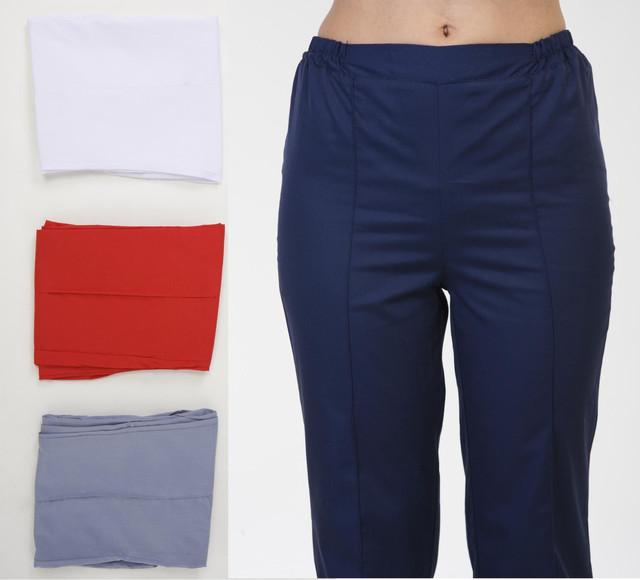 Медицинские практичные брюки белого цвета на резинке разных размеров