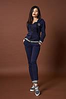 Женский трикотажный костюм. Код модели КТ-09-46-17. Цвет синий меланж.