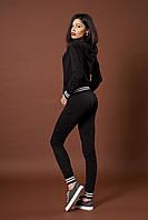 Женский трикотажный костюм. Код модели КТ-09-46-17. Цвет черный меланж.