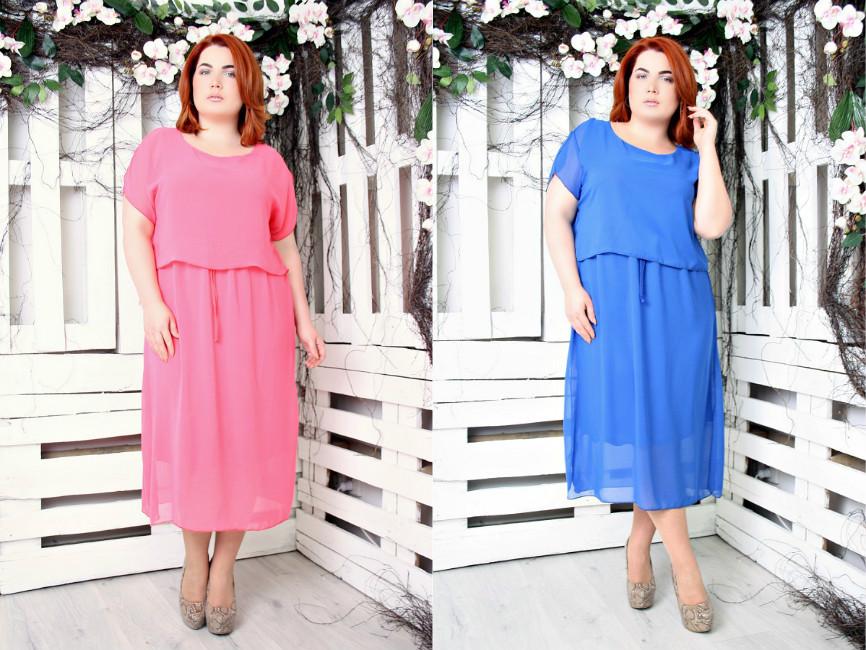 ff0c2c098ed Шифоновое яркое платье большого размера 52-56 - TIASS - женская одежда  обувь от фабрик