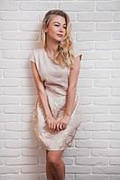 Женское платье жаккардовое золотое, фото 1