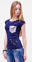 Стильная модная женская футболка с серебристым карманом