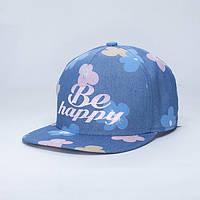 Кепка для девушки из джинса в цветы Be happy