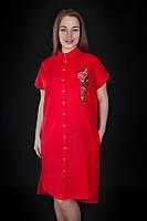 Красивое платье-рубашка с вышивкой на груди ярко-красного цвета