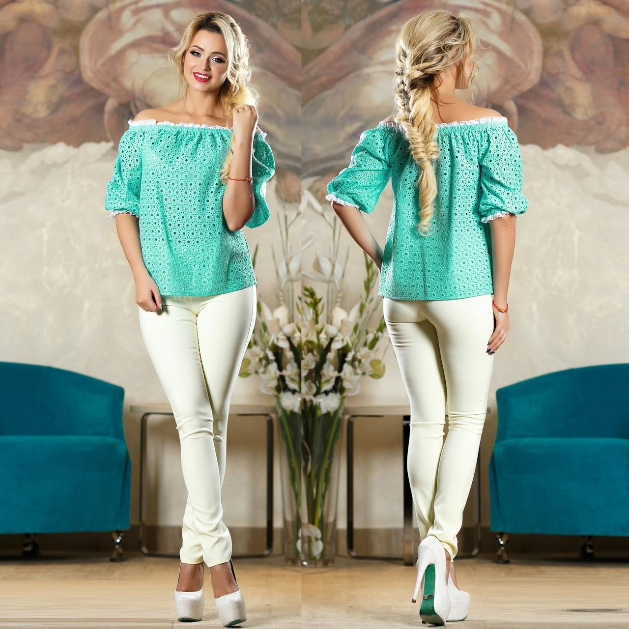 97fd596824d Летняя блуза и прошвы с открытыми плечами SV Бирюзовый  продажа ...