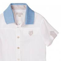 Нарядная рубашка для мальчика с коротким рукавом из льна охладит тело даже в сильный зной!