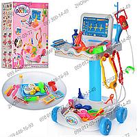 """Игровой набор """"Доктор"""" 606-1-5, с тележкой. 30,5*30*51 см, 33 предмета, инструменты, микроскоп, очки, 2 вида"""