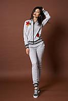 Женский трикотажный костюм. Код модели КТ-10-46-17. Цвет серый меланж.