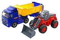 """""""Volvo"""" автомобиль-самосвал с полуприцепом + трактор-погрузчик (в коробке)"""