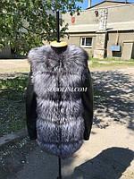 Куртка-трансформер с мехом чернобурки, рукава кожанные, фото 1