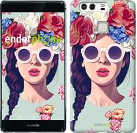 """Чехол на Huawei P9 Девушка с цветами """"2812u-347"""""""