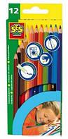 Набор цветных карандашей, 12 цветов, SES