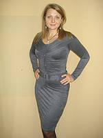 """Платье трикотажное""""вторая кожа» с пуговицами и поясом, фото 1"""